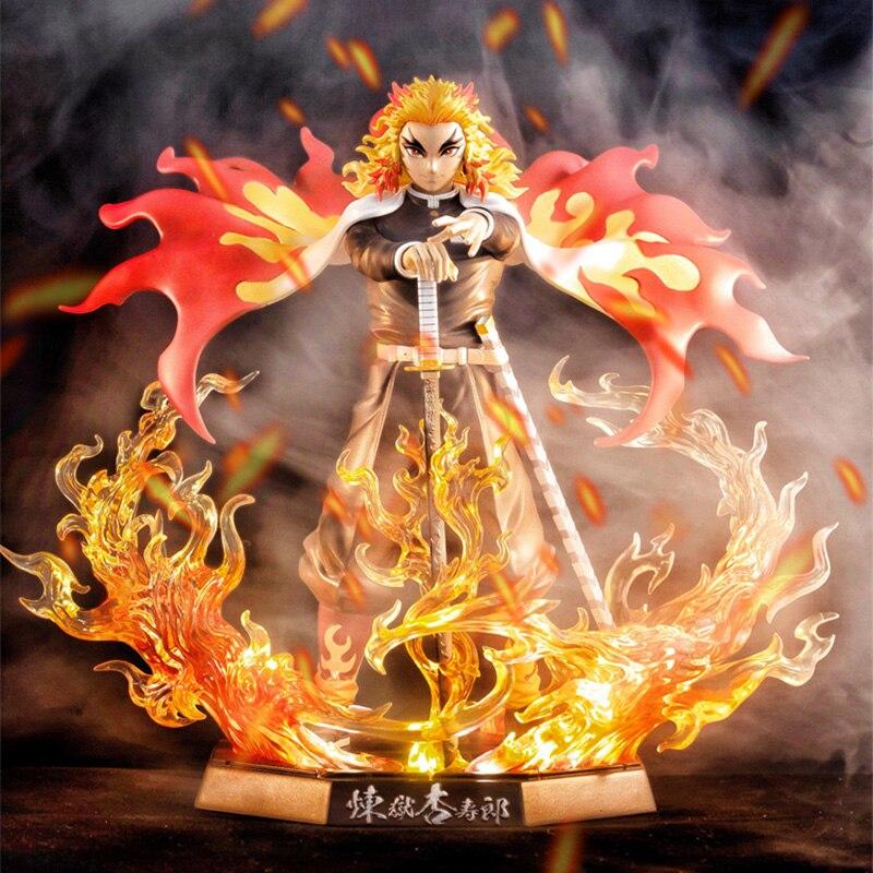 In-Stock Demon Slayer Anime Figure Rengoku Kyoujurou PVC Action Figure Toys GK Anime Kimetsu No Yaiba Figurine Model Toys 20cm